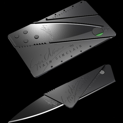 Cutit CARD , de purtat in portofel,CardSharp lama inox chirurgical 76mm
